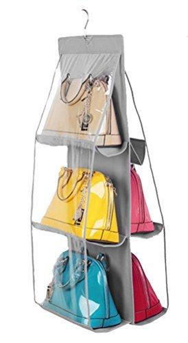 Sammlung Mit Sechs Schubladen (Santwo 6 Taschen, Anti-Staub-Abdeckung, transparent, zum Aufhängen von Kleiderschränken, Organizer, Geldbeutel, Sammlung, Schuhe sparen, (grau), Large)