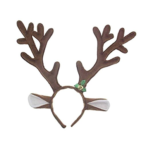 LUOEM Rentiergeweih Haarreif Rentier Geweih Stirnband Headwear mit Bell HaarBand Weihnachten Ostern Partei Stirnbänder kleiden oben Kostüme (Rentier Kostüme Niedliche)