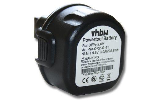 vhbw NI-MH Akku 3000mAh (9.6V) für Werkzeug Dewalt ersetzt DE9036, DE9061, DE9062, DW9061, DW9062. (Dw 750)