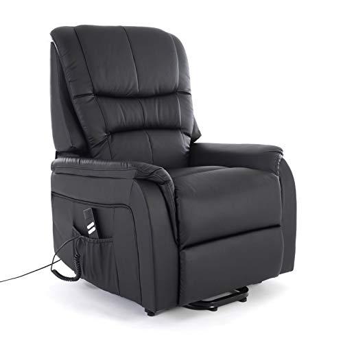 colourliving Fernsehsessel mit Aufstehhilfe elektrisch Relaxsessel mit 2 Motoren aus Kunstleder in schwarz