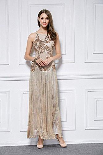 Beauty-Emily -  Vestito  - linea ad a - Collo a U  - Senza maniche  - Donna Beige