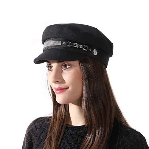 SIYWINA Newsboy Cabbie Beret Cap Bakerboy Hat Schirmmütze Barett Mütze Damen (Cabbie Cap Frauen Für)