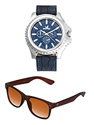 Orlando Casual Chronograph Look Analogue Blue Dial Blue Leather Belt Mens Watch & BIG Tree Cinnamon Brown Color UV Protected Wayfarer Sunglasses Goggles Combo Set