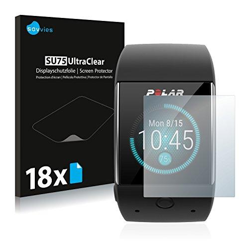 Savvies Schutzfolie kompatibel mit Polar M600 (18 Stück) - ultraklare Bildschirmschutz-Folie