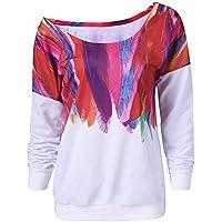 ¡Gran promoción!★Rovinci★ Camisetas de Las Mujeres Casual Cómodo Suelta de Manga Larga de Cuero del Arco Iris Gota de Agua de impresión Pullover Blusa Sudadera Tops