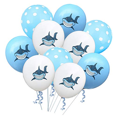 non-brand Baoblaze 10x Latex Ballon Luftballon Heliumballon mit Polka Dot und Haifisch Bedruckt, ca. 30 × 20 × 10 cm - C (Polka Dot Latex-ballons)