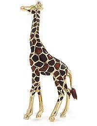 Brown Enamel 'Giraffe' Brooch In Gold Plated Metal
