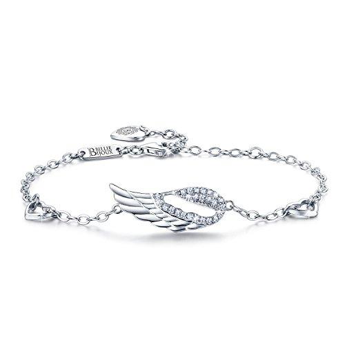 Billie Bijoux 925 Sterlingsilber Engelsflügel Einstellbar Diamant weißes Gold überzog Armband für Frauen Mädchen Mutter Geschenk für Abschluss Weihnachten Valentinstag Geburtstag - Diamant-gold-armbänder Für Frauen