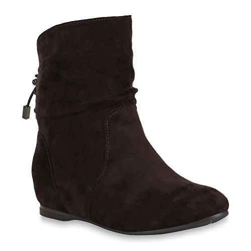 Damen Schuhe Stiefeletten Keilstiefeletten Gefütterte Stiefel Wedges 150932 Dunkelbraun 40 Flandell