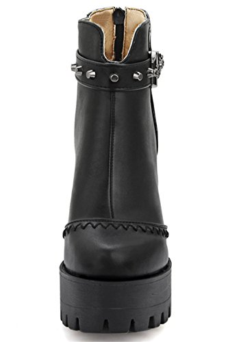 YE Damen Blockabsatz Hihg Heels Plateau Stiefeletten mit Nieten und Schnallen Reißverschluss Hinten 12cm Absatz Ankle Boots Schwarz