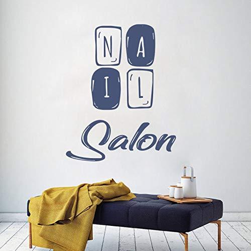 zhuziji Manicure Nail Salon Wall Decal Window Sticker Vinyl Girls Beauty Salon Handmade Design Hairdresser Removable Interior Dec 34x42cm Blue Flame Snap