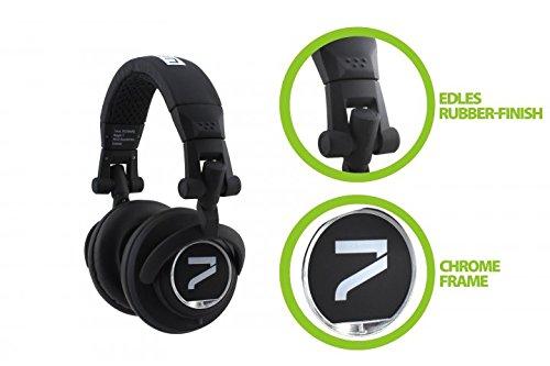 7even® Headphone Black mit Phone-Talk/Dj, HiFi, Sport Kopfhörer, dreh-klappbar, austauschbares Kabel, Over-Ear HiFi Ohrhörer, gepolstert