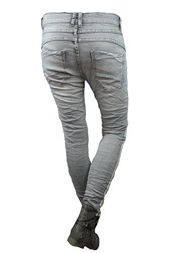 Lexxury baggy boyfriend Stretch Jeans offene Knopfleiste goldene Seitenstreifen Grey