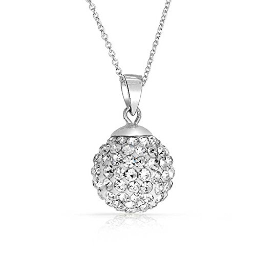 Crystals from Swarovski 18 kt Vergoldet Discokugel Weiß Halskette für Damen 45 cm Silber S925 Anhänger