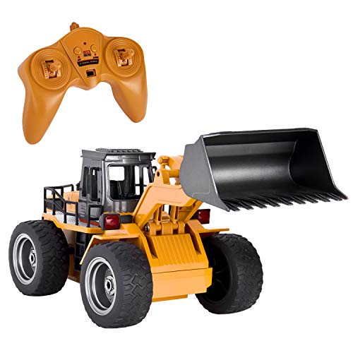 GotechoD Remote Control Construction Vehicle, Remote Control Loader Alloy RC Bulldozer 1:18 Full Function, 6 Channel 4 Wd RC Front Loader Excavator Vehicle for Kids