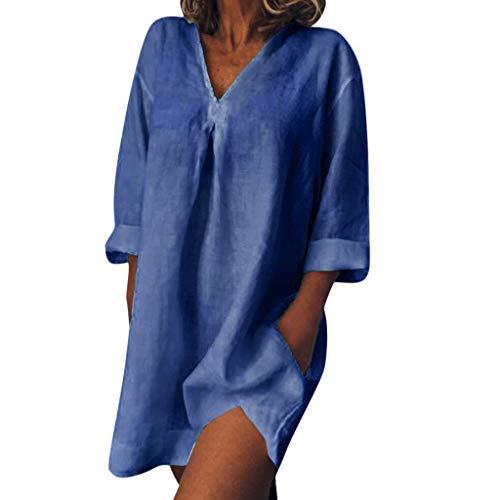 VJGOAL Kleider Damen Sommer Elegant Einfach Große Größen Einfarbig V Ausschnitt Freizeit Shirt Lose Mini Dresses for (Dorothy Kostüm Einfach)