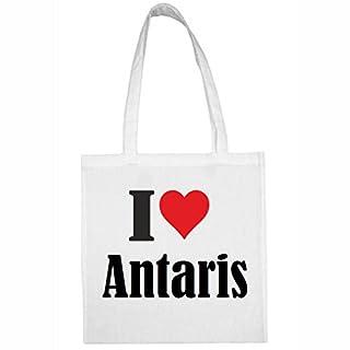 Tasche I Love Antaris Größe 38x42 Farbe Weiss Druck Schwarz