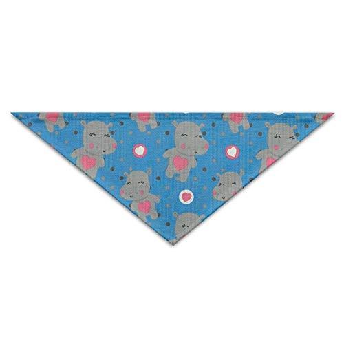 Cute Hippo Heart Cute Mehrfarbige Haustierbandanas für Ihren Hund oder Ihre Katze klein bis mittelgroß (Hippo Kostüm Für Katzen)