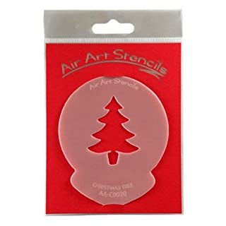 Christmas Tree Stencil - Reusable Flexible Food Grade Plastic Stencil for Cake and Craft Design, Airbrushing and more