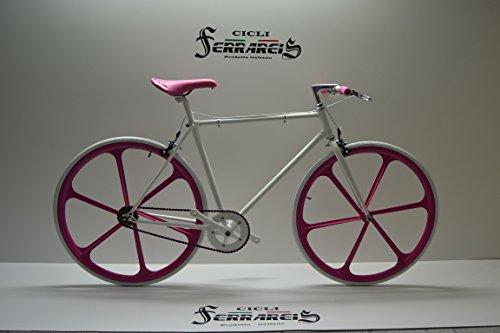 Cicli Ferrareis Fixed Bike Single Speed Bici Scatto Fisso Bianco Fucsia a Razze Personalizzabile