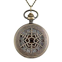 X&D Vintage Large Circular Hollow Snowflakes Metal Clamshell Mechanical Pocket Watch Necklace Watch (1Pc)