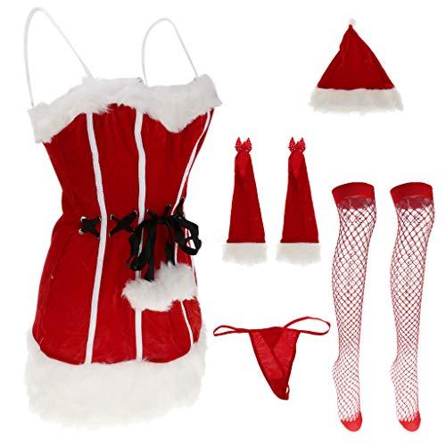 Baoblaze Weihnachtsmann Damen Miss Santa Weihnachtsfrau erotische Kostüm Set Negligee + Rote Strümpfe + Handschuhe + Strings + ()