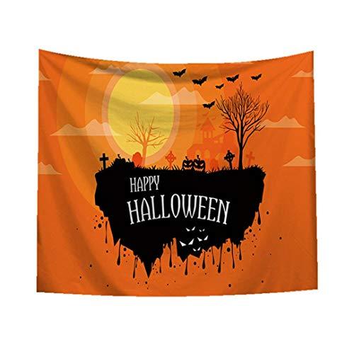 TianranRT Skull Tapisserie Halloween Trick behandeln Horror Ghost Wandbehang Tuch Gobelin Tapisserie Stickerei Strandtuch Kilim Kelim Home Decor (D, ()