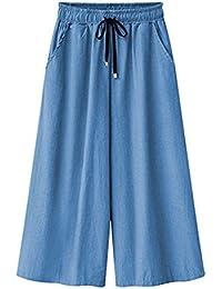 Mujeres Ancho Pierna Palazzo Pantalones Cintura Elástica Holgados Flojos Casual Capri Pantalon Harem Vaqueros Tallas Grandes Zarco 7 6XL