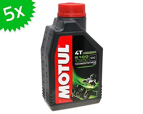 5 X 1 litro Olio Motore Motul 4T 10W50 5100 5 Litri 4 Tempi Olio Olio Olio Scooter Moto