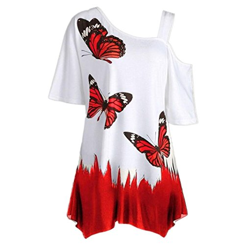 VEMOW Heißer Verkauf Große Größe Frauen Damen Mädchen Sommer Schmetterling Druck T-Shirt Kurzarm Casual Tops Bluse (EU-54/CN-5XL, Rot) - Button-down-pullover-strickjacke