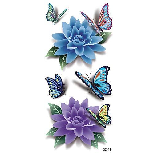 Yangqin adesivo tatuaggio 3d farfalla colorata impermeabile corpo umano fai da te sticker flash temporanea tattoo applique fly butterfly rose