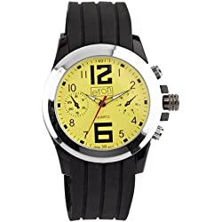 Mens Black Rubber Yellow Dial Chronograph Design Eton Watch - Gents Fashion Watch