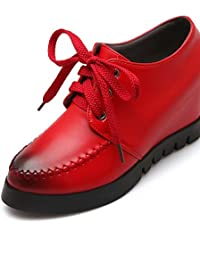 NJX/ 2016 Zapatos de mujer - Plataforma - Punta Redonda - Oxfords - Vestido - Semicuero - Negro / Rojo , red-us8.5 / eu39 / uk6.5 / cn40 , red-us8.5 / eu39 / uk6.5 / cn40