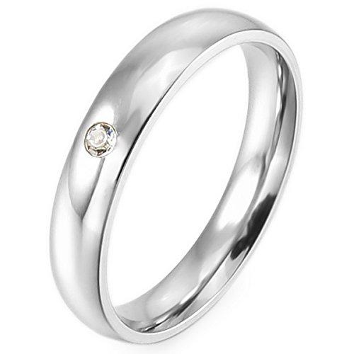MunkiMix Edelstahl Band Ring CZ Zirkon Zirkonia Silber Ton Hochzeit Größe 54 (17.2) (Cz Hochzeit Ringe Größe 5 1 2)