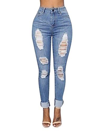 Damen Jeanshose Zerrissen Stretch Jeans Loch Hose Röhrenjeans High Waist Hosen (EU 40(Etikette XL), Hellblau)