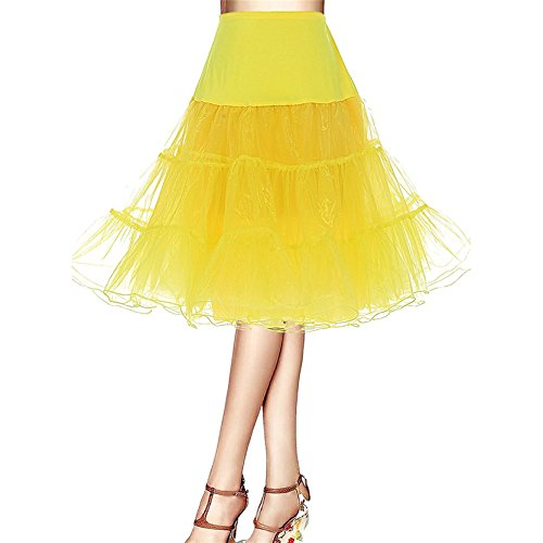 Frauen 50er Jahre Vintage Rockabilly Petticoat mit Strecken Taille (50er Kleinkinder Für Jahre Kostüme)