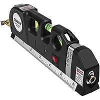 Semlos - Nivel láser multiuso, cinta métrica retráctil de doble cara, con sistema de proyección de línea láser horizontal y vertical, con regla con escala estándar y métrica (2,5 m).