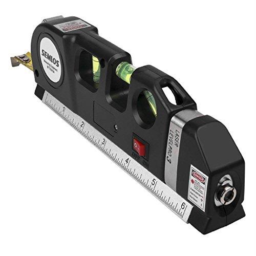Semlos - Livella laser multiuso, con telemetro laser, metro a nastro double-face, livella retraibile standard per misurazioni in orizzontale e verticale e righello (2,5 m)