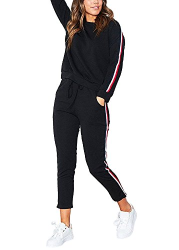 ShallGood Femme Hoodie Sweat-Shirt +Pantalon Col Rond Survêtement Ensemble De Sportwear Noir EU M