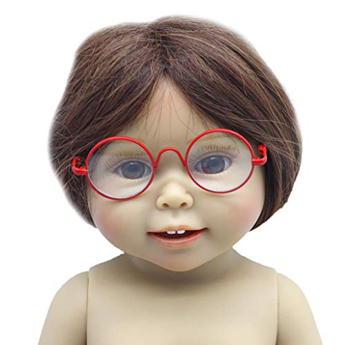 Dabixx Puppenaugen, Lady Doll Brille Pet Brille für BJD Blythe Puppe American Girl Pet Spielzeug - rot