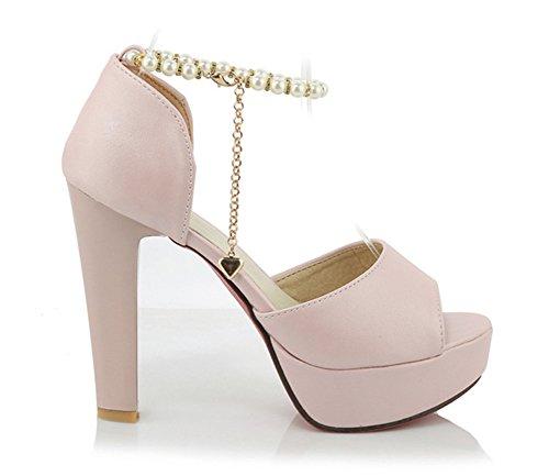 Aisun Femme Elégant Bout Ouvert Plateforme Sandales Rose