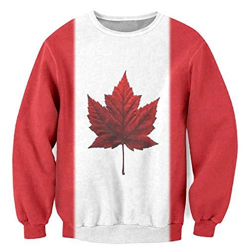 Dodom Neuheiten Herren Hoodies Sweatshirts Kanada Red Maple Leaf Print Pullover Hip Hop Hoody Crewneck Pullover 3D Sweatshirt-rot Sweathisrt, XL