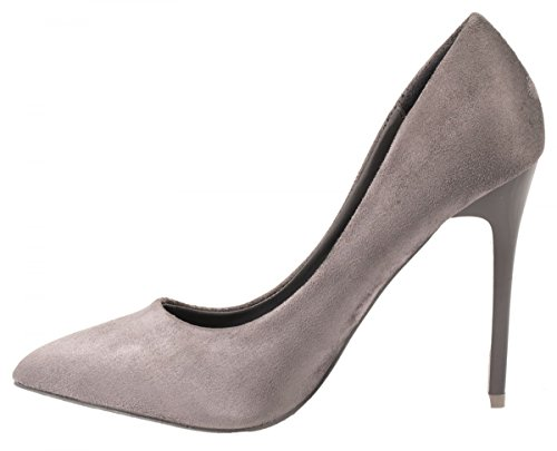 Elara Damen Pumps | Trendige Spitze Stilettos | High Heels Grau Wildleder