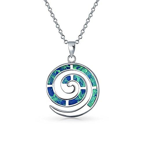 Runde Blaue Opal Inlay Spiral Labyrinth Wind Anhänger Mit Halskette Für Damen Für Freundin 925 Sterling Silber Erstellt Opale Spiral