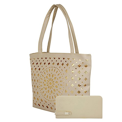 Kapparow women\'s Stylish Casual and office use good quality shoulder and hand bag (With Clutch, Cream)
