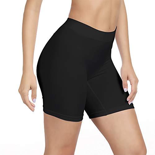 SIHOHAN Damen Unterhosen, Lange Frauen Panties, hohe Taille und Bequem, 1er Pack (schwarz, M) -