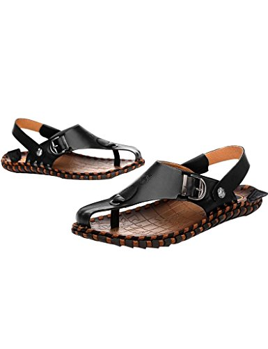 Youlee Herren Peep-Toe-Strandschuhe Leder Sandalen für den Sommer Schwarz