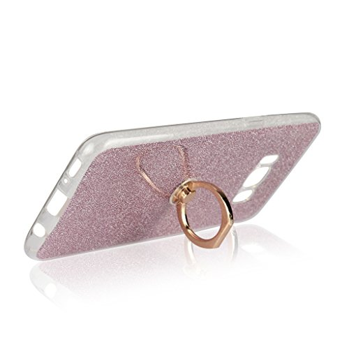 Galaxy S8 Hülle,Mo-Beauty® für Galaxy S8 Ultradünne Silikon Gel Schutzhülle Durchsichtig,Diamant Bling Weich TPU Schutzhülle Handy Tasche Shinning Glitzer Kristall Diamant Silicone Rückseite Hülle Etu Glitzer Rosa