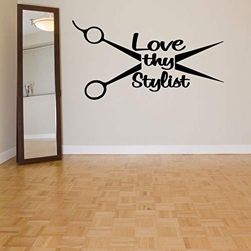 hllhpc Liebe Deine stylistin Haar Werkzeug Vinyl Wohnkultur Wandaufkleber Schönheitssalon Friseur Wandtattoo Abnehmbare Mural42 * 80 cm