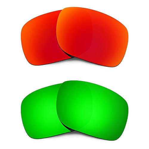 HKUCO Mens Replacement Lenses For Oakley Holbrook Red/Emerald Green Sunglasses